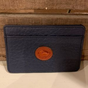 Dooney & Bourke Navy Pebbled Leather Card Holder